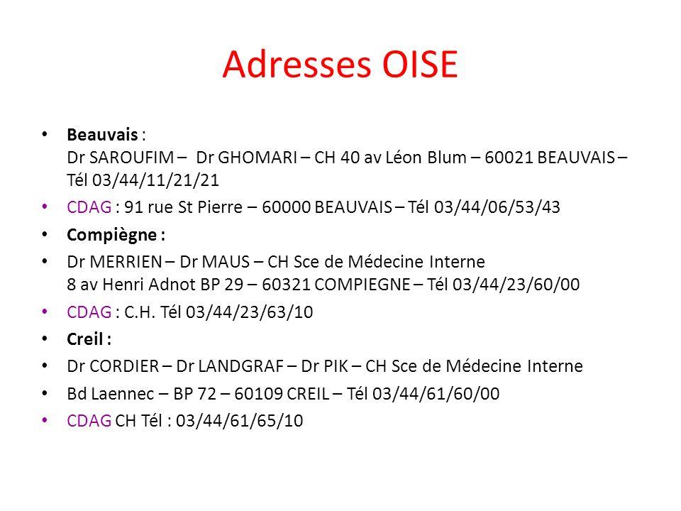 Adresses OISE Beauvais : Dr SAROUFIM – Dr GHOMARI – CH 40 av Léon Blum – 60021 BEAUVAIS – Tél 03/44/11/21/21 CDAG : 91 rue St Pierre – 60000 BEAUVAIS