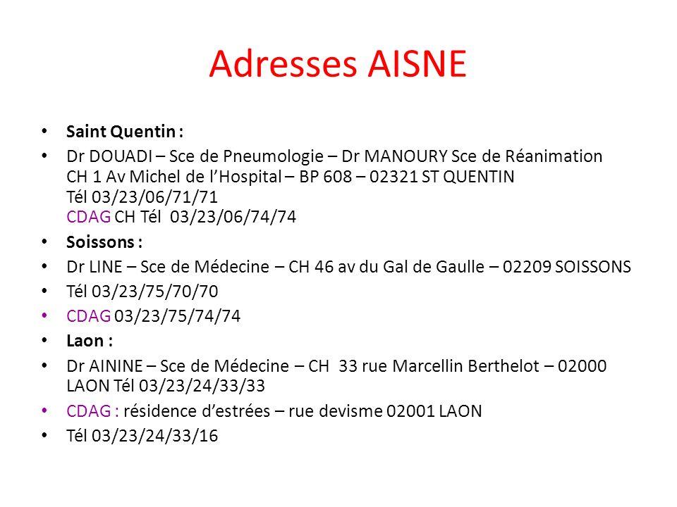 Adresses AISNE Saint Quentin : Dr DOUADI – Sce de Pneumologie – Dr MANOURY Sce de Réanimation CH 1 Av Michel de lHospital – BP 608 – 02321 ST QUENTIN