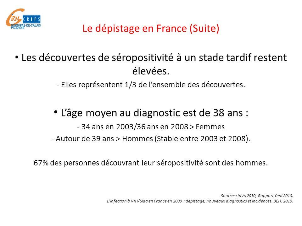 Les découvertes de séropositivité à un stade tardif restent élevées. - Elles représentent 1/3 de lensemble des découvertes. Lâge moyen au diagnostic e