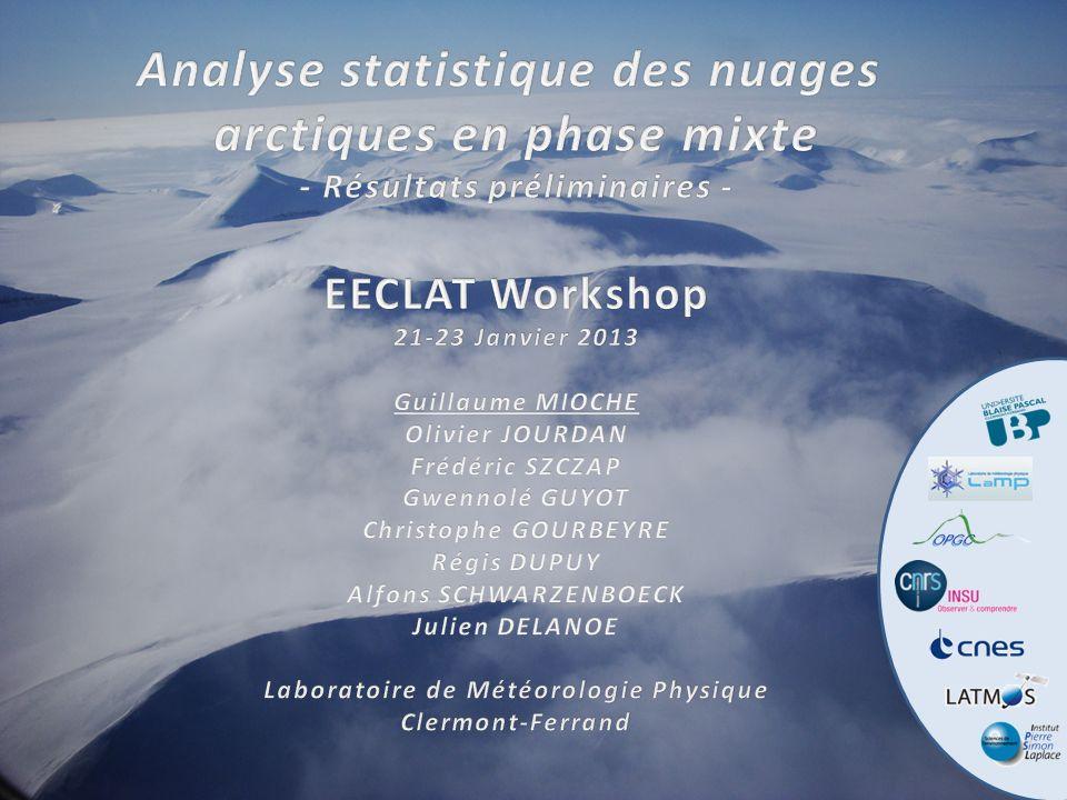 EECLAT WorkshopAnalyse statistique des nuages arctiques en phase mixte21-23 Janvier 2013 Analyse statistique des données in situ pour: o étudier les processus de formation et de croissance des gouttes surfondues et des cristaux de glace, partition liquide/glace, forme des cristaux de glace, interactions avec le rayonnement… o évaluer les algorithmes dinversion de la télédétection aéroportée et spatiale (RALI/CALIPSO-CloudSat) o établir des paramétrisations pour la télédétection aéroportée o améliorer la représentation des nuages mixtes dans les modèles (méso-échelle, GCM) T1.7 – Nuages arctiques en phase mixte