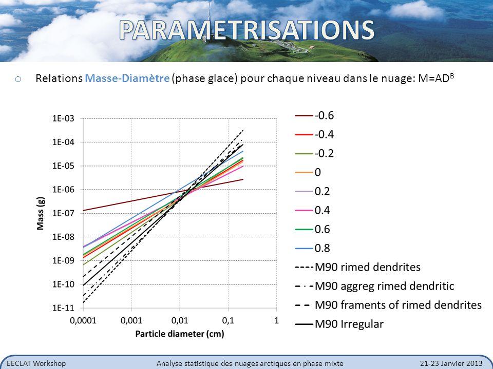 EECLAT WorkshopAnalyse statistique des nuages arctiques en phase mixte21-23 Janvier 2013 o Relations Masse-Diamètre (phase glace) pour chaque niveau d