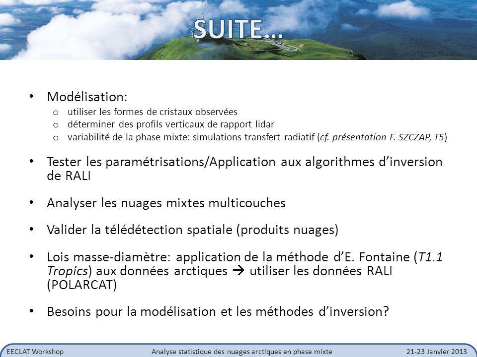 EECLAT WorkshopAnalyse statistique des nuages arctiques en phase mixte21-23 Janvier 2013 Modélisation: o utiliser les formes de cristaux observées o d