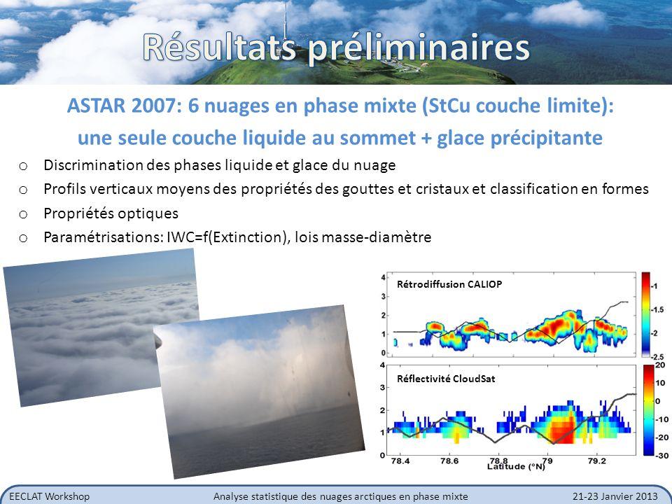 EECLAT WorkshopAnalyse statistique des nuages arctiques en phase mixte21-23 Janvier 2013 Modélisation: o utiliser les formes de cristaux observées o déterminer des profils verticaux de rapport lidar o variabilité de la phase mixte: simulations transfert radiatif (cf.