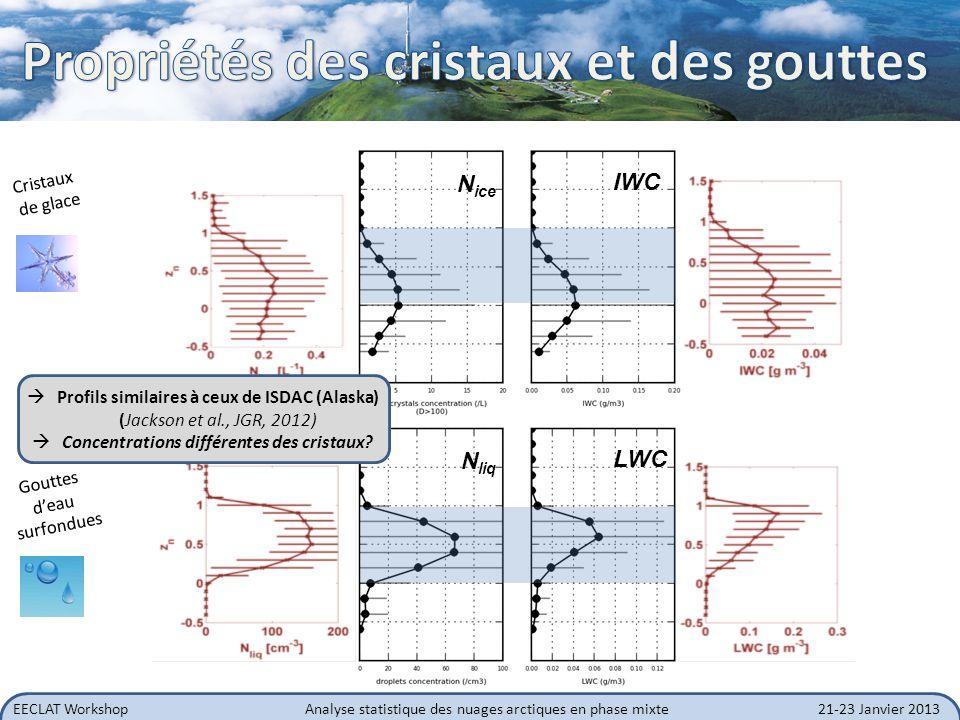 EECLAT WorkshopAnalyse statistique des nuages arctiques en phase mixte21-23 Janvier 2013 Particules givrées dans la partie supérieure du nuage (présence de la phase liquide): Processus de givrage T (°C) N ice (#/L) formes Etoiles et formes pristine dans la partie inférieure du nuage, jusquau sol Dépôt de vapeur, effet Bergeron.