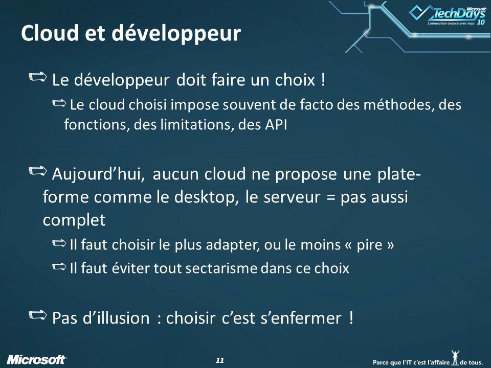 11 Cloud et développeur Le développeur doit faire un choix .