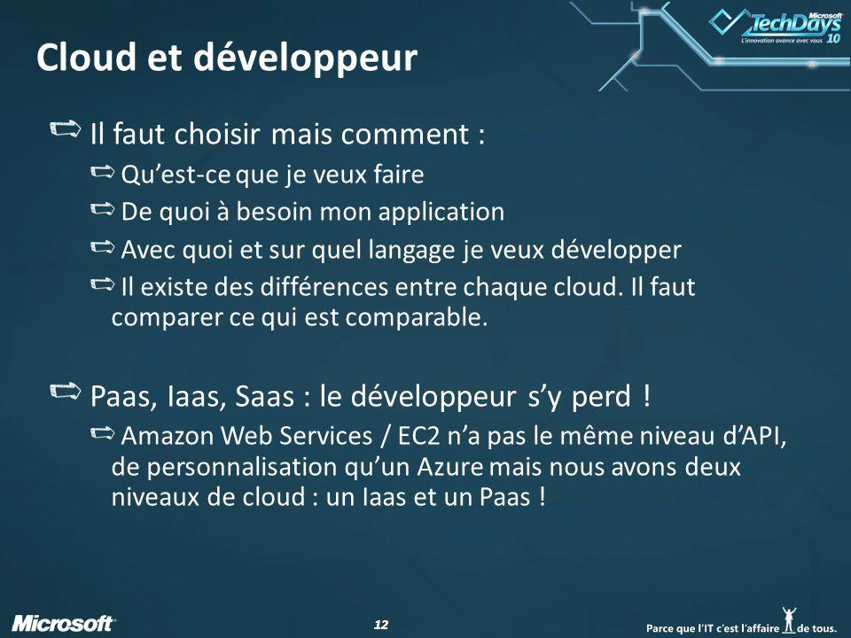 12 Cloud et développeur Il faut choisir mais comment : Quest-ce que je veux faire De quoi à besoin mon application Avec quoi et sur quel langage je veux développer Il existe des différences entre chaque cloud.