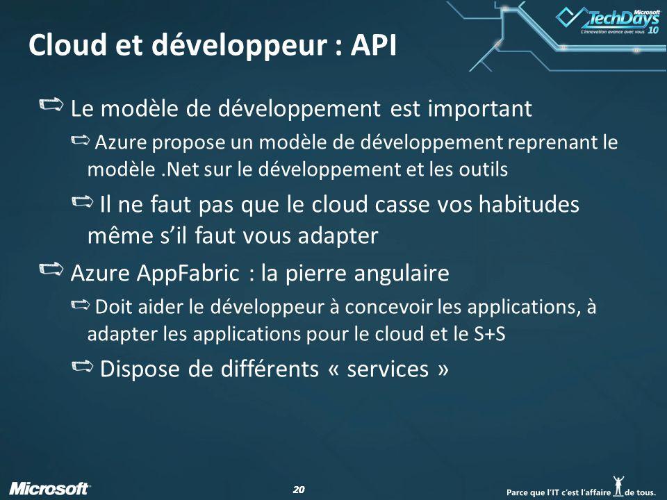 20 Cloud et développeur : API Le modèle de développement est important Azure propose un modèle de développement reprenant le modèle.Net sur le développement et les outils Il ne faut pas que le cloud casse vos habitudes même sil faut vous adapter Azure AppFabric : la pierre angulaire Doit aider le développeur à concevoir les applications, à adapter les applications pour le cloud et le S+S Dispose de différents « services »
