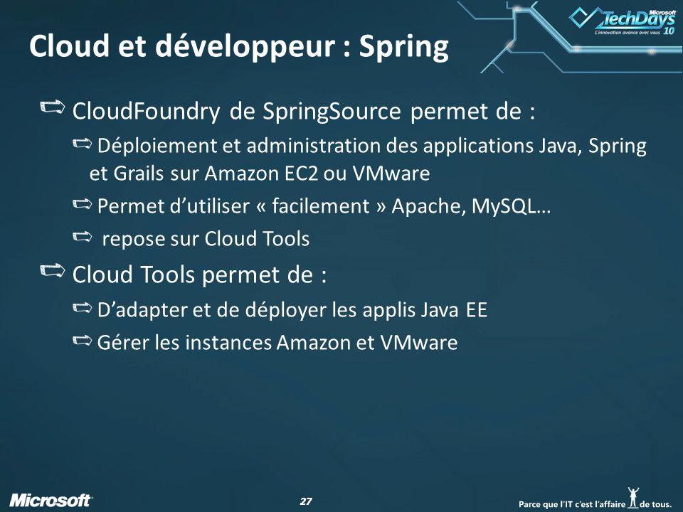 27 Cloud et développeur : Spring CloudFoundry de SpringSource permet de : Déploiement et administration des applications Java, Spring et Grails sur Amazon EC2 ou VMware Permet dutiliser « facilement » Apache, MySQL… repose sur Cloud Tools Cloud Tools permet de : Dadapter et de déployer les applis Java EE Gérer les instances Amazon et VMware