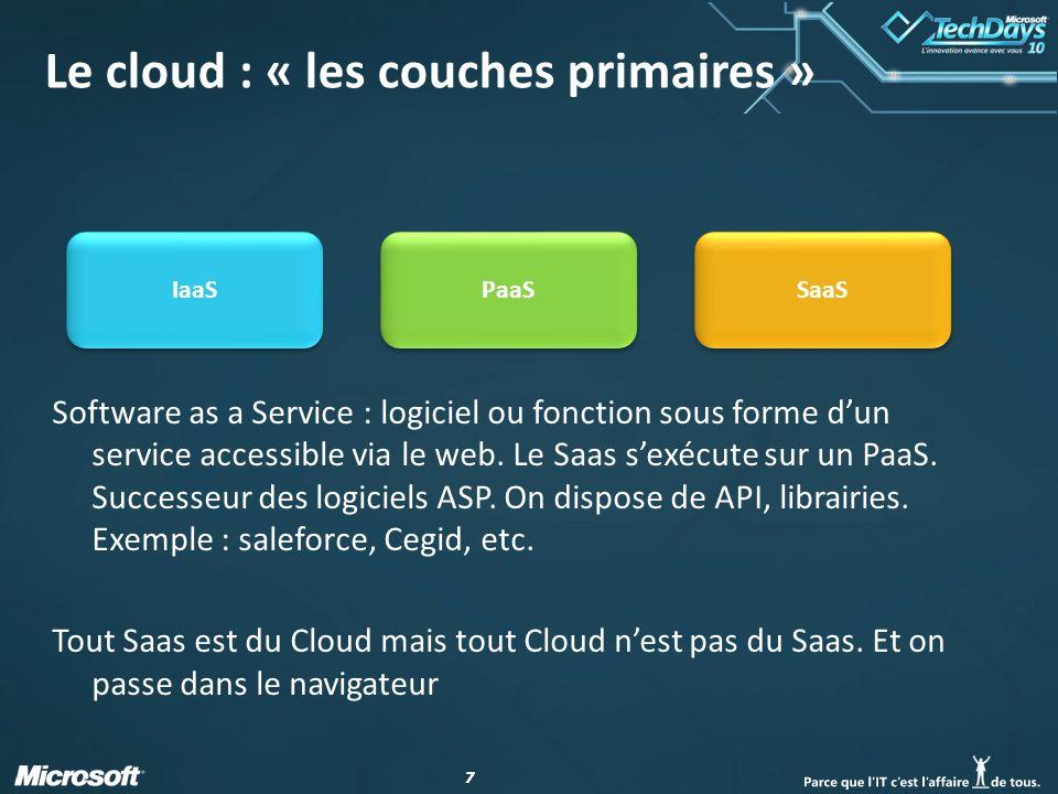 77 Le cloud : « les couches primaires » Software as a Service : logiciel ou fonction sous forme dun service accessible via le web.
