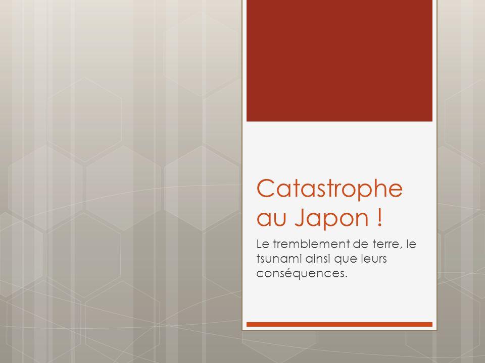 Catastrophe au Japon ! Le tremblement de terre, le tsunami ainsi que leurs conséquences.