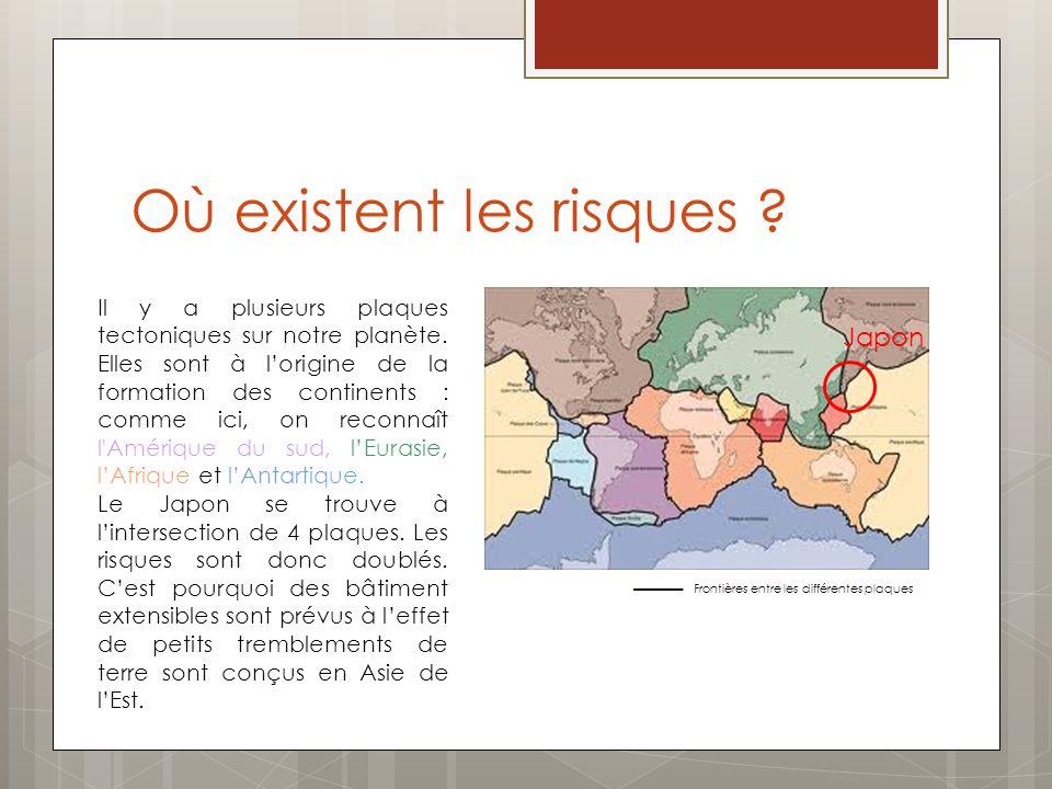 Où existent les risques ? Frontières entre les différentes plaques Japon Il y a plusieurs plaques tectoniques sur notre planète. Elles sont à lorigine