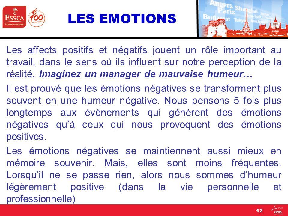 LES EMOTIONS Les affects positifs et négatifs jouent un rôle important au travail, dans le sens où ils influent sur notre perception de la réalité. Im