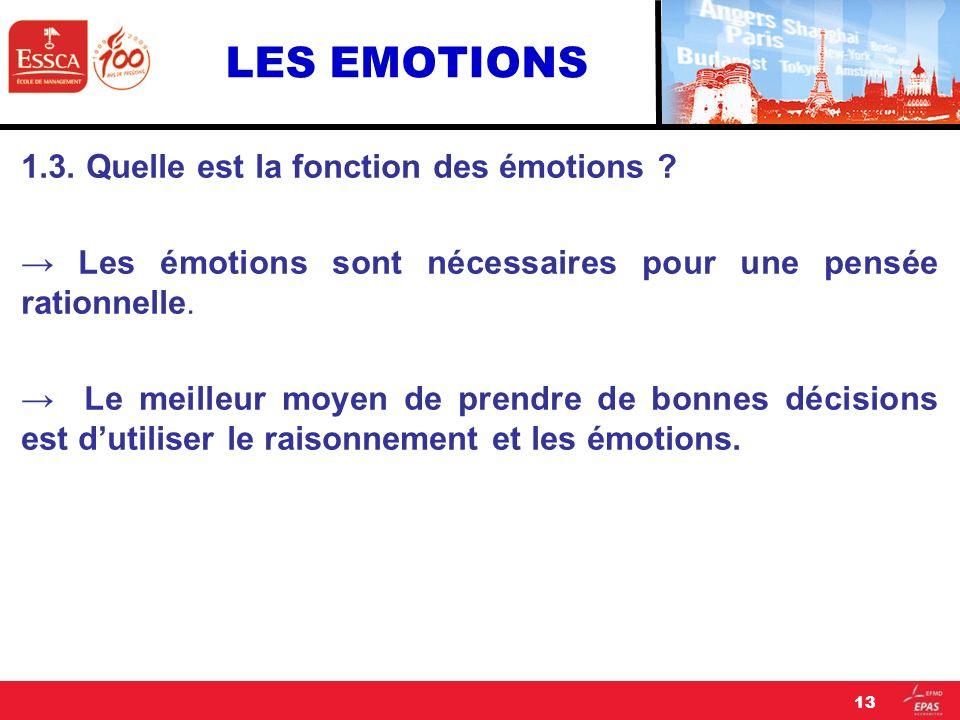 LES EMOTIONS 1.3. Quelle est la fonction des émotions ? Les émotions sont nécessaires pour une pensée rationnelle. Le meilleur moyen de prendre de bon