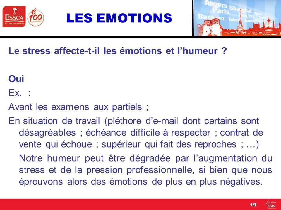 LES EMOTIONS Le stress affecte-t-il les émotions et lhumeur ? Oui Ex. : Avant les examens aux partiels ; En situation de travail (pléthore de-mail don