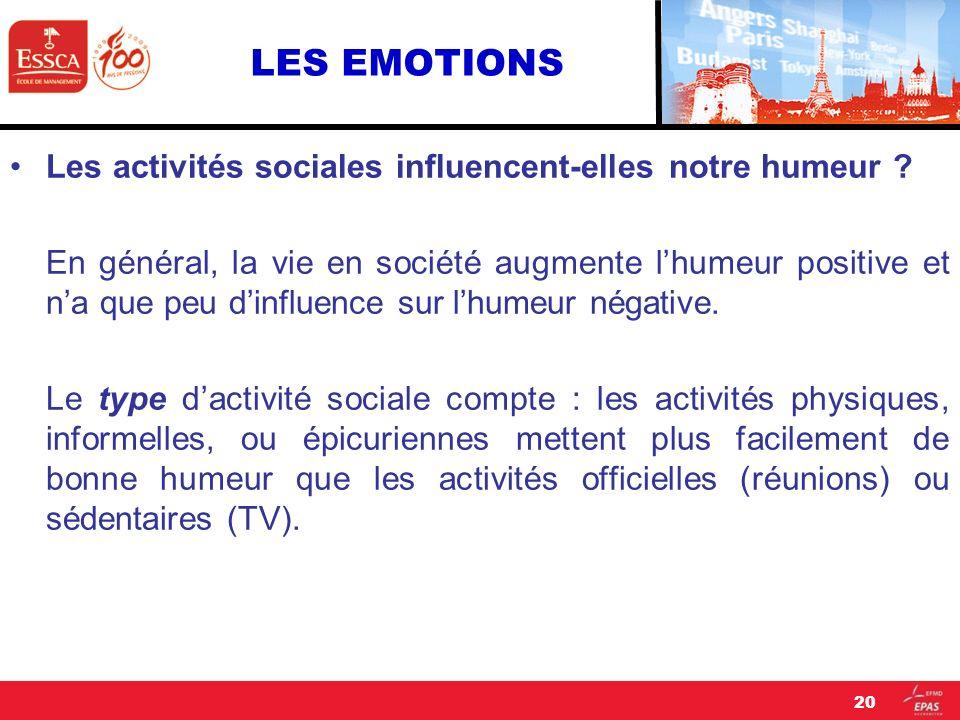 LES EMOTIONS Les activités sociales influencent-elles notre humeur ? En général, la vie en société augmente lhumeur positive et na que peu dinfluence