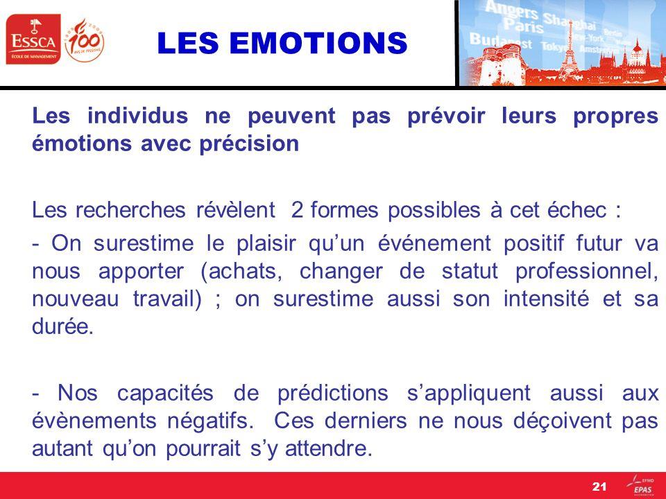 LES EMOTIONS Les individus ne peuvent pas prévoir leurs propres émotions avec précision Les recherches révèlent 2 formes possibles à cet échec : - On