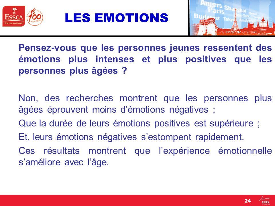 LES EMOTIONS Pensez-vous que les personnes jeunes ressentent des émotions plus intenses et plus positives que les personnes plus âgées ? Non, des rech