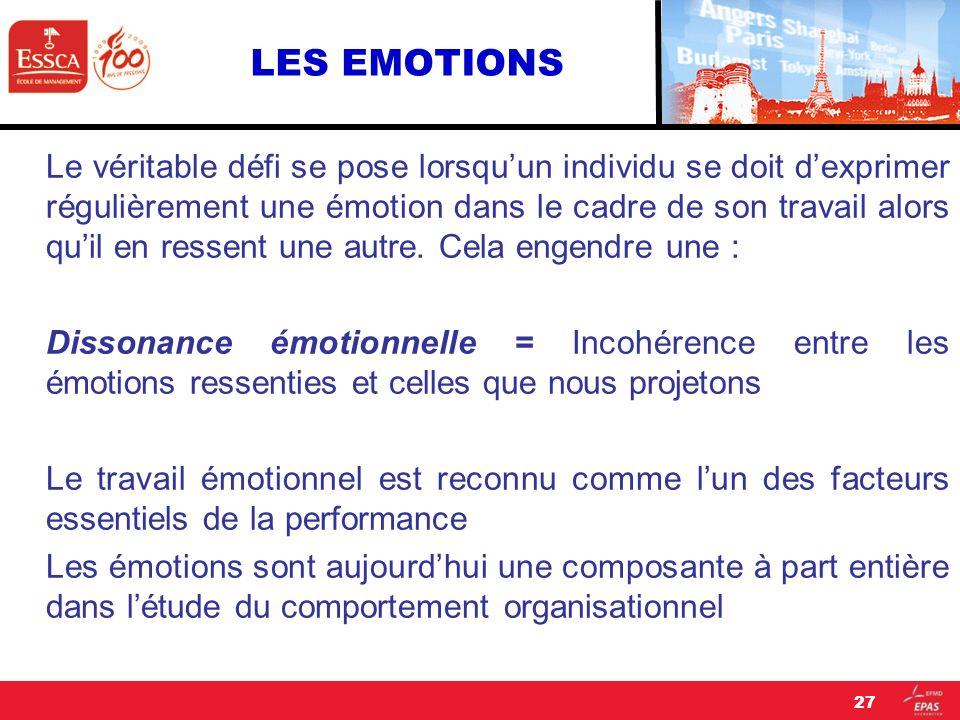 LES EMOTIONS Le véritable défi se pose lorsquun individu se doit dexprimer régulièrement une émotion dans le cadre de son travail alors quil en ressen