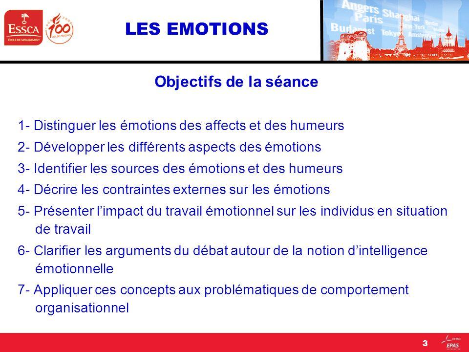 LES EMOTIONS Objectifs de la séance 1- Distinguer les émotions des affects et des humeurs 2- Développer les différents aspects des émotions 3- Identif