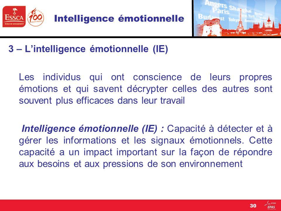 Intelligence émotionnelle 3 – Lintelligence émotionnelle (IE) Les individus qui ont conscience de leurs propres émotions et qui savent décrypter celle
