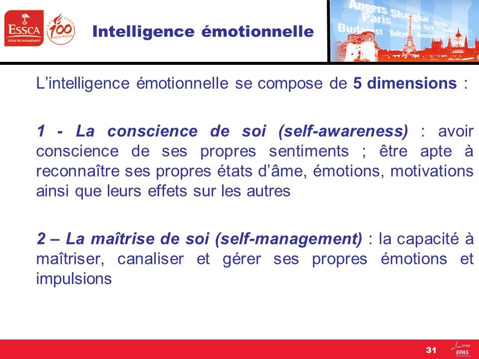Intelligence émotionnelle Lintelligence émotionnelle se compose de 5 dimensions : 1 - La conscience de soi (self-awareness) : avoir conscience de ses