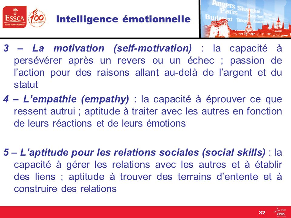 Intelligence émotionnelle 3 – La motivation (self-motivation) : la capacité à persévérer après un revers ou un échec ; passion de laction pour des rai