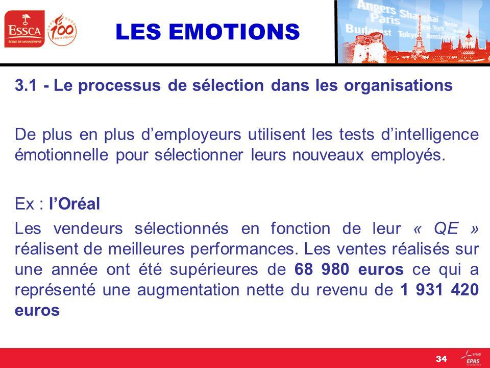 LES EMOTIONS 3.1 - Le processus de sélection dans les organisations De plus en plus demployeurs utilisent les tests dintelligence émotionnelle pour sé