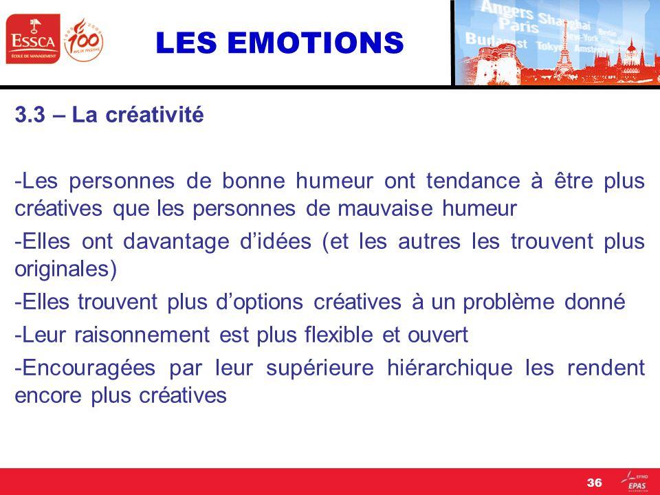 LES EMOTIONS 3.3 – La créativité -Les personnes de bonne humeur ont tendance à être plus créatives que les personnes de mauvaise humeur -Elles ont dav