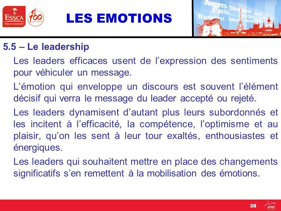 LES EMOTIONS 5.5 – Le leadership Les leaders efficaces usent de lexpression des sentiments pour véhiculer un message. Lémotion qui enveloppe un discou