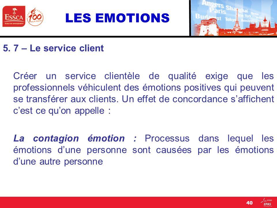 LES EMOTIONS 5. 7 – Le service client Créer un service clientèle de qualité exige que les professionnels véhiculent des émotions positives qui peuvent