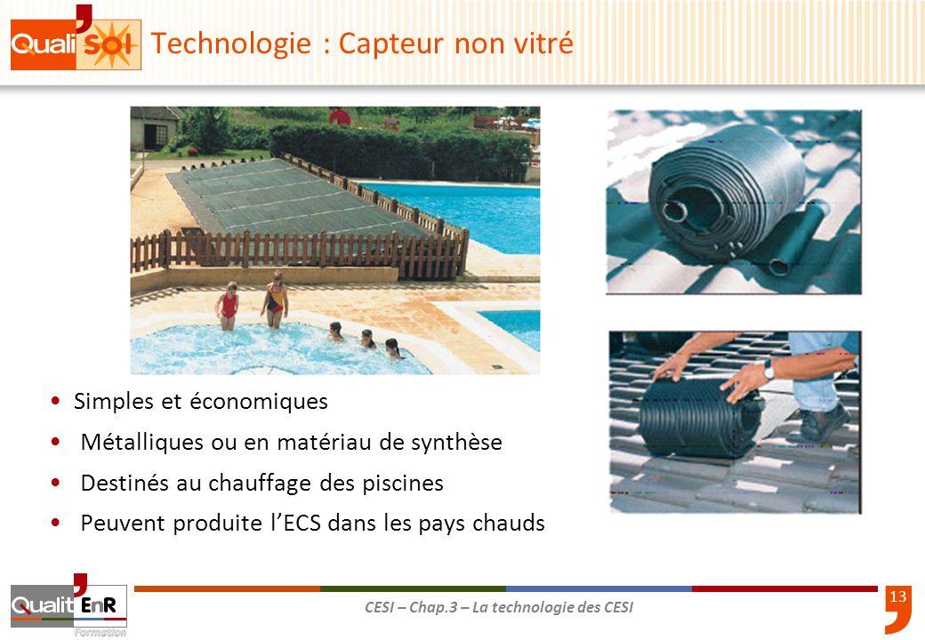 13 CESI – Chap.3 – La technologie des CESI Simples et économiques Métalliques ou en matériau de synthèse Destinés au chauffage des piscines Peuvent pr