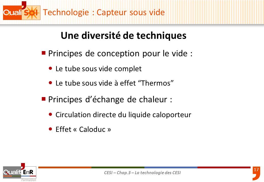 17 CESI – Chap.3 – La technologie des CESI Une diversité de techniques Principes de conception pour le vide : Le tube sous vide complet Le tube sous v