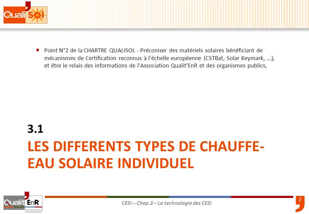 3 CESI – Chap.3 – La technologie des CESI Tous ces différents systèmes sont actuellement éligibles aux primes publiques Chauffe-Eau Solaire Individuel ainsi quau crédit dimpôt.