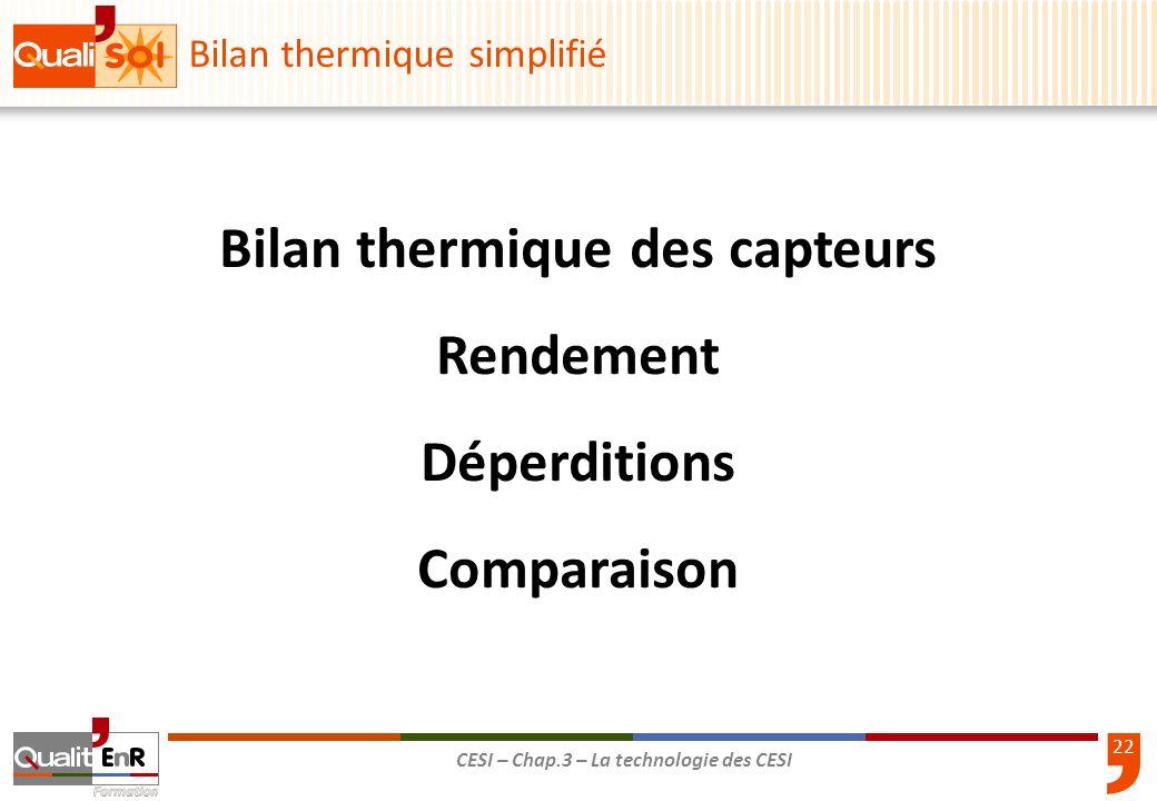 22 CESI – Chap.3 – La technologie des CESI Bilan thermique simplifié Bilan thermique des capteurs Rendement Déperditions Comparaison
