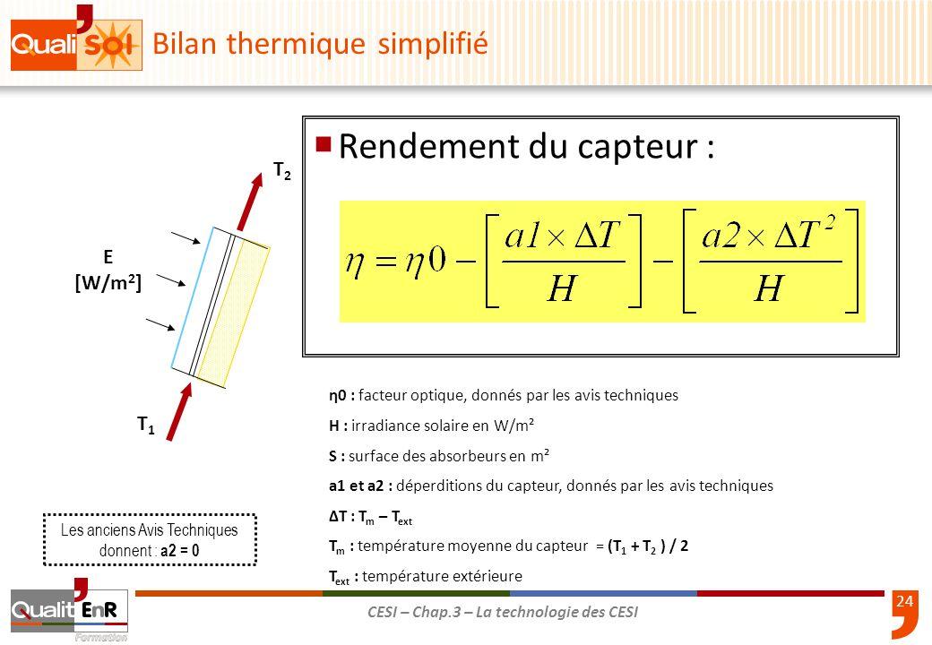 25 CESI – Chap.3 – La technologie des CESI Bilan thermique simplifié 700 W 413 W η0 : 0.78 H : 700 W/m² a1 : 3.18 a2 : 0.04 T m : (T 1 + T 2 ) / 2 soit (40+50) / 2 = 45 °C T ext : 15 °C ΔT : T m – T ext : 45 – 15 = 30 °C