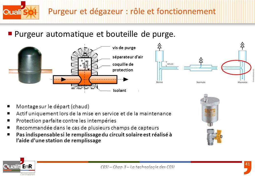 41 CESI – Chap.3 – La technologie des CESI Purgeur automatique et bouteille de purge. 3-39Composants et sous-systèmes des installations solaires therm