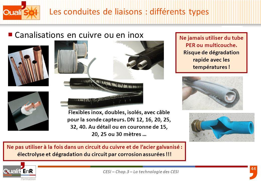 44 CESI – Chap.3 – La technologie des CESI Canalisations en cuivre ou en inox Ne jamais utiliser du tube PER ou multicouche. Risque de dégradation rap