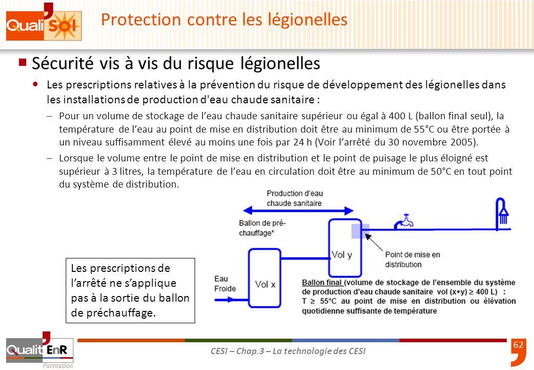 62 CESI – Chap.3 – La technologie des CESI Sécurité vis à vis du risque légionelles Les prescriptions relatives à la prévention du risque de développe
