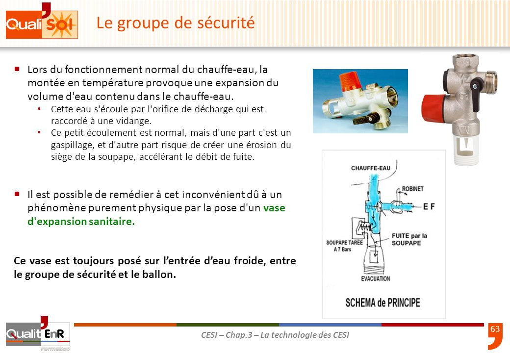 63 CESI – Chap.3 – La technologie des CESI Lors du fonctionnement normal du chauffe-eau, la montée en température provoque une expansion du volume d'e