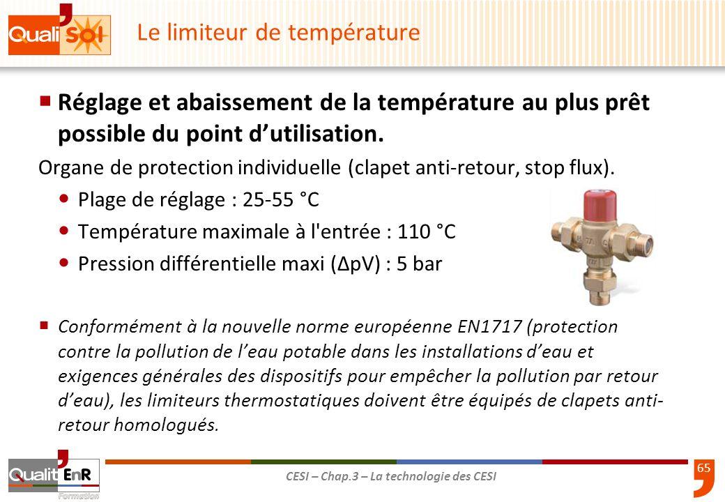 65 CESI – Chap.3 – La technologie des CESI Le limiteur de température Réglage et abaissement de la température au plus prêt possible du point dutilisa