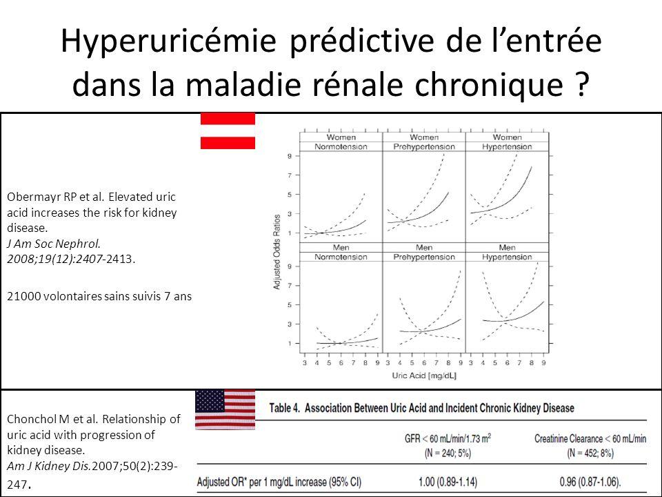 Hyperuricémie prédictive de lentrée dans la maladie rénale chronique .