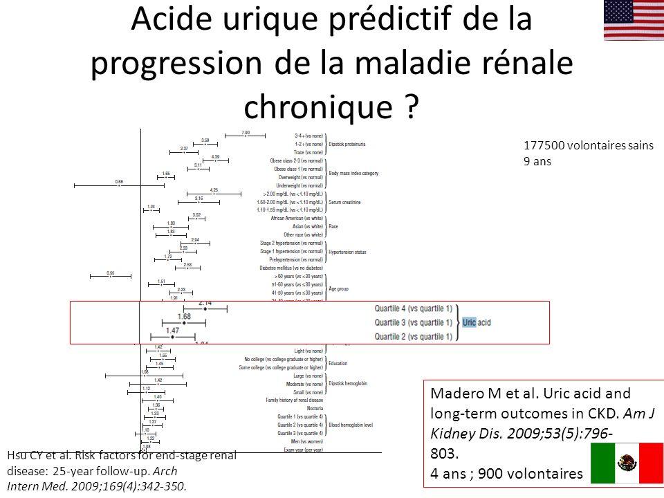 Acide urique prédictif de la progression de la maladie rénale chronique .
