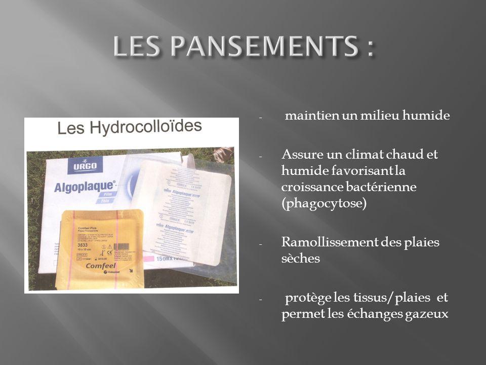 - maintien un milieu humide - Assure un climat chaud et humide favorisant la croissance bactérienne (phagocytose) - Ramollissement des plaies sèches - protège les tissus/plaies et permet les échanges gazeux