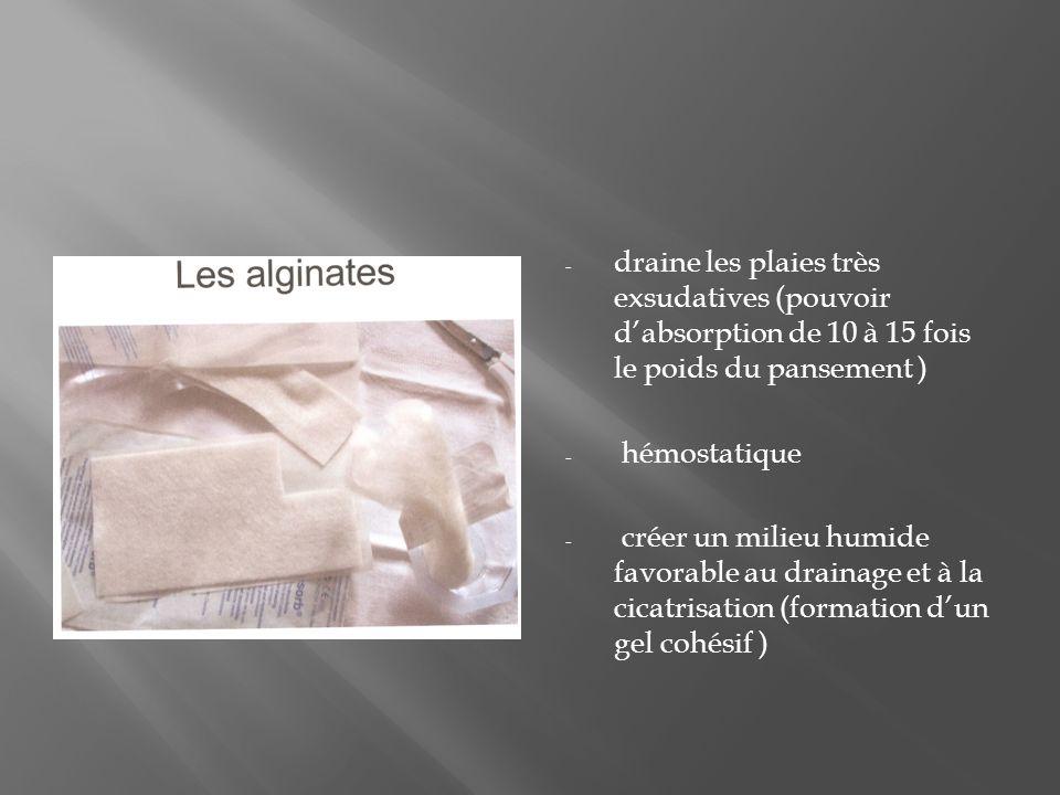 - draine les plaies très exsudatives (pouvoir dabsorption de 10 à 15 fois le poids du pansement ) - hémostatique - créer un milieu humide favorable au drainage et à la cicatrisation (formation dun gel cohésif )