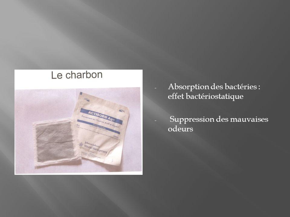- Absorption des bactéries : effet bactériostatique - Suppression des mauvaises odeurs