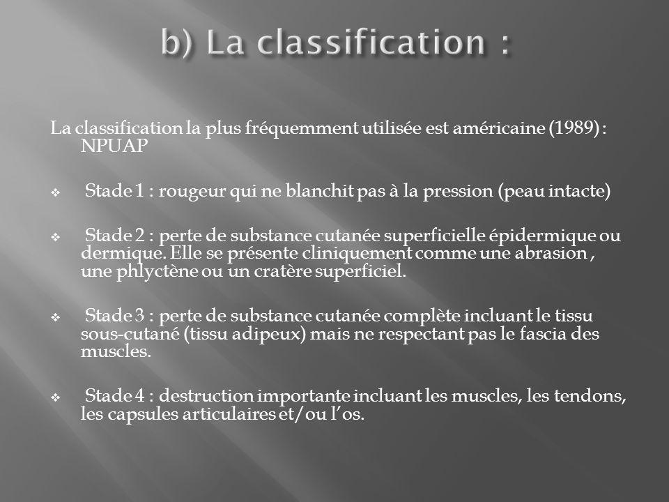 La classification la plus fréquemment utilisée est américaine (1989) : NPUAP Stade 1 : rougeur qui ne blanchit pas à la pression (peau intacte) Stade 2 : perte de substance cutanée superficielle épidermique ou dermique.