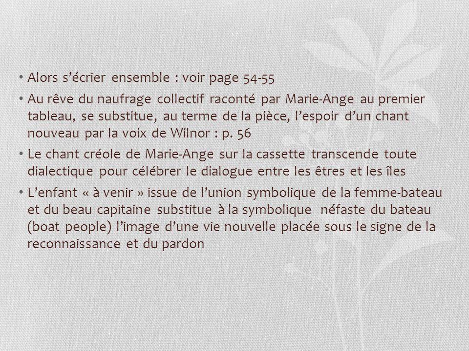 Alors sécrier ensemble : voir page 54-55 Au rêve du naufrage collectif raconté par Marie-Ange au premier tableau, se substitue, au terme de la pièce, lespoir dun chant nouveau par la voix de Wilnor : p.