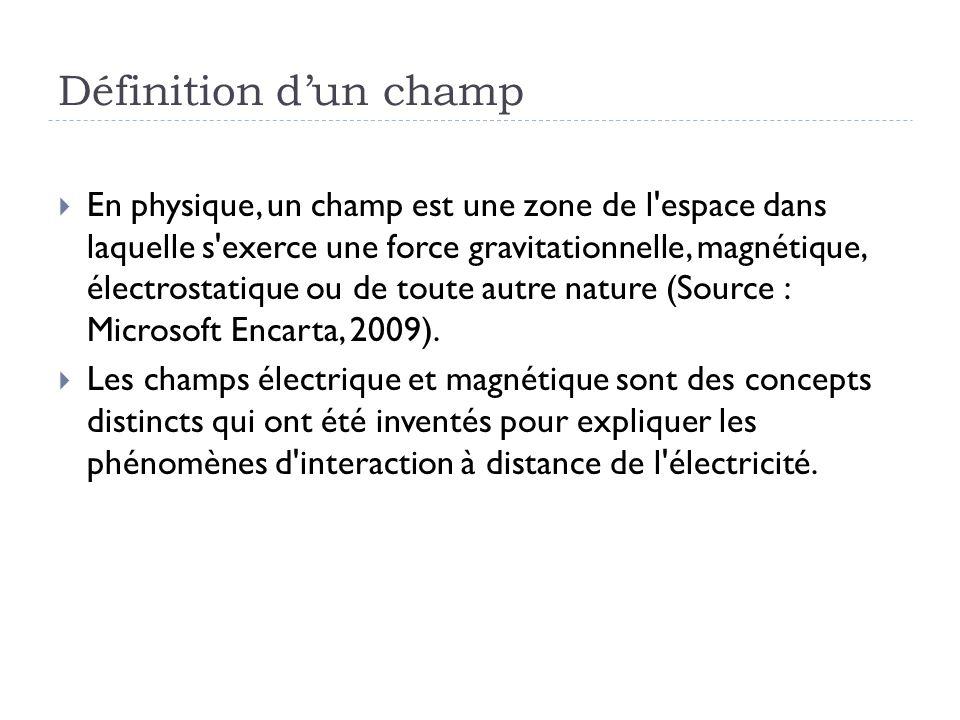 Définition dun champ En physique, un champ est une zone de l'espace dans laquelle s'exerce une force gravitationnelle, magnétique, électrostatique ou