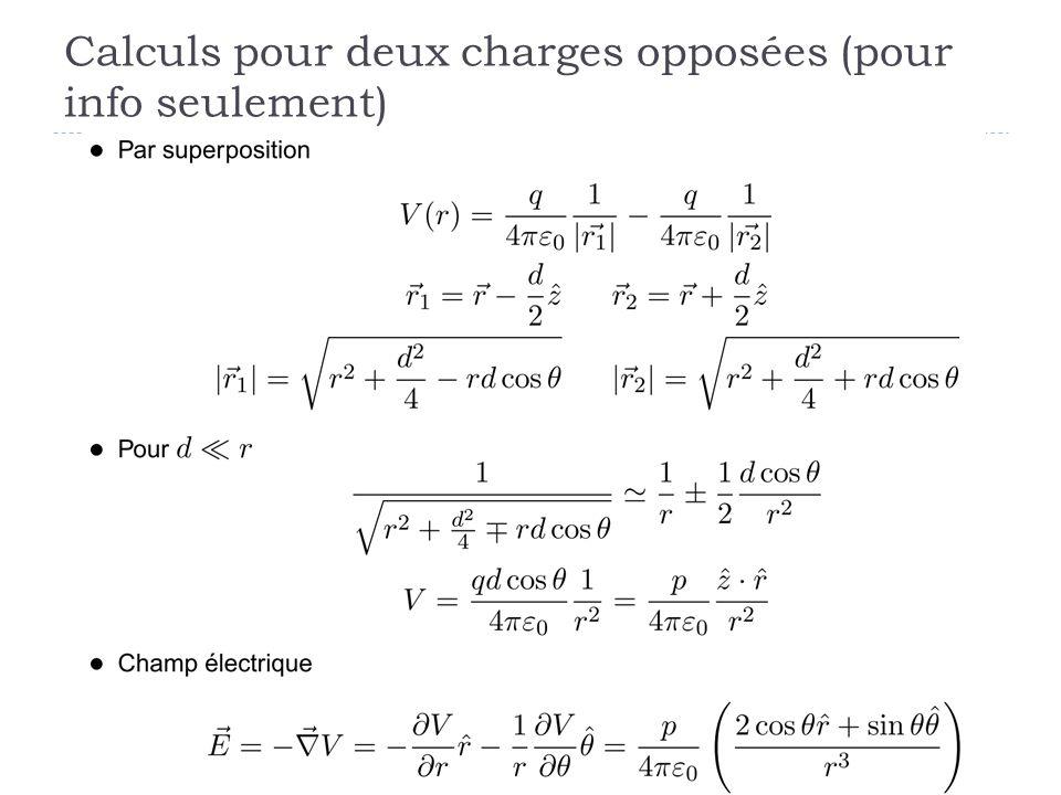 Calculs pour deux charges opposées (pour info seulement)