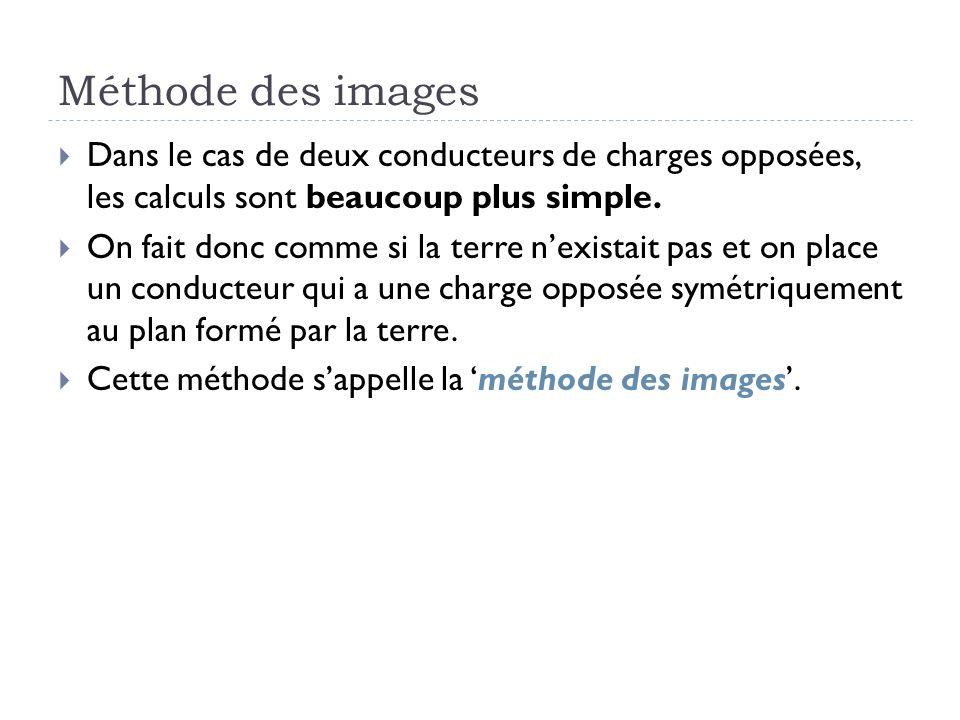 Méthode des images Dans le cas de deux conducteurs de charges opposées, les calculs sont beaucoup plus simple. On fait donc comme si la terre nexistai